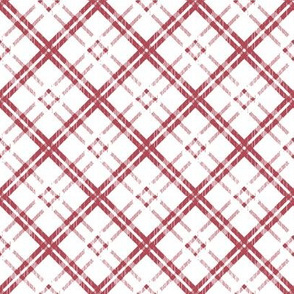 Grungy Diagonal Plaid - Rose on White