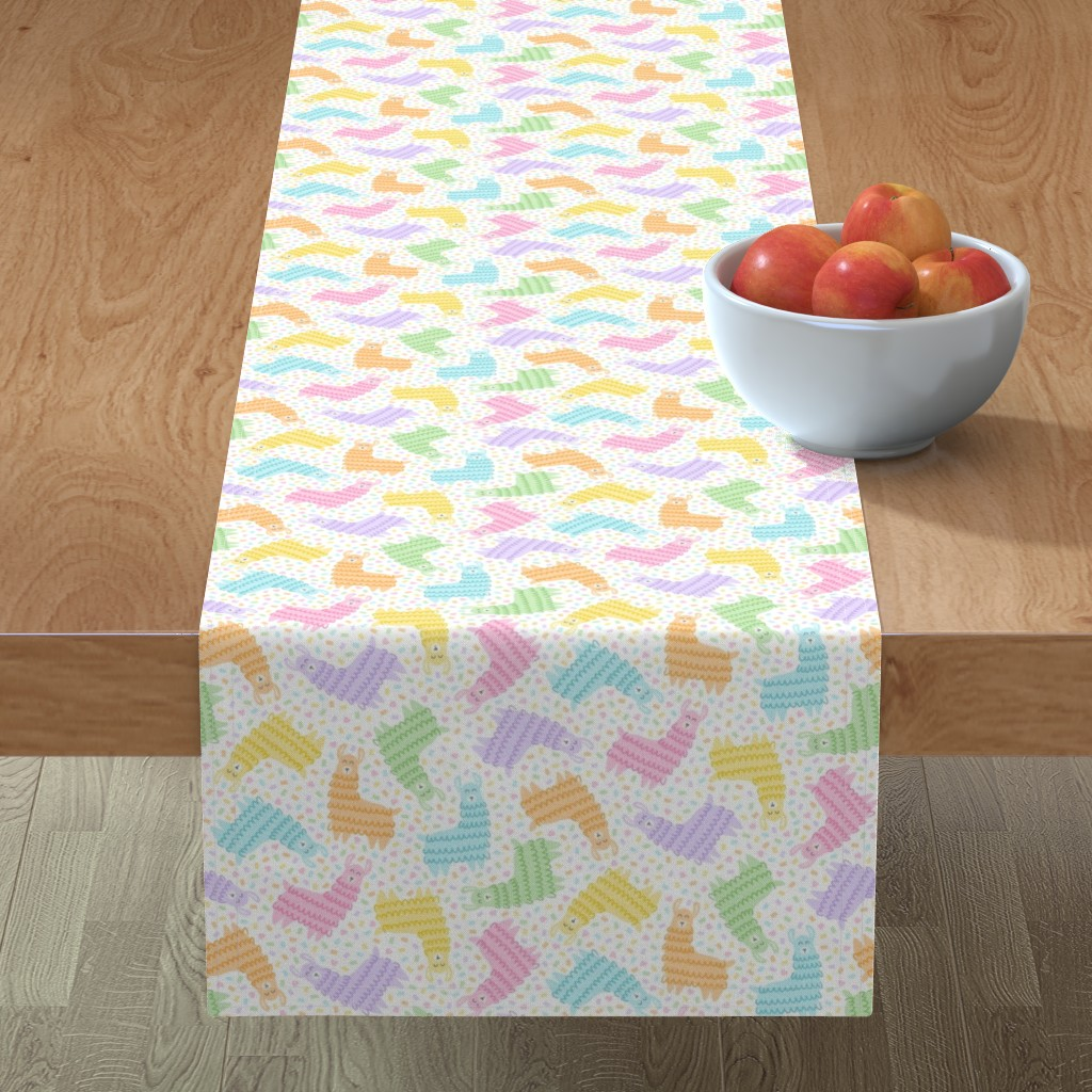 Minorca Table Runner featuring Rainbow Party Llamas on White by moonpuff