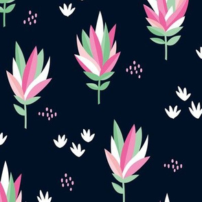 Tropical summer beach lovers flower surf garden botanical protea abstract sugarbushes night navy mint green pink