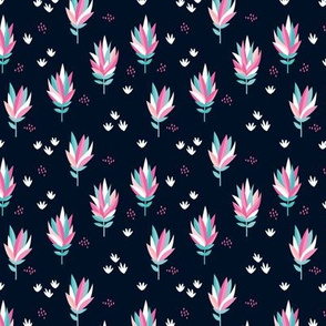 Tropical summer beach lovers flower surf garden botanical protea abstract sugarbushes night navy pink aqua SMALL