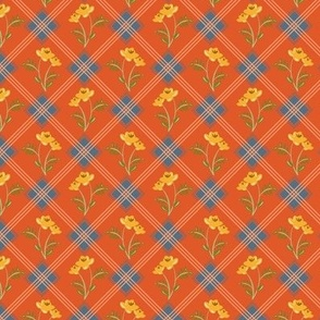 1930's Grid and Flowers Red-01