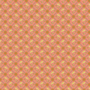 1930's Grid and Flowers Pink