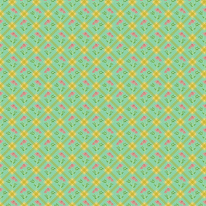 1930's Grid and Flowers Green