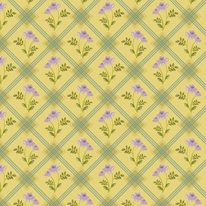 1930's Grid and Flowers Gold