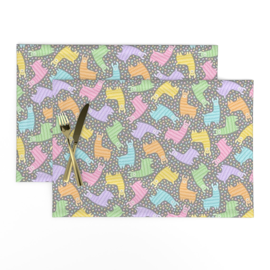 Lamona Cloth Placemats featuring Rainbow Party Llamas on Grey by moonpuff