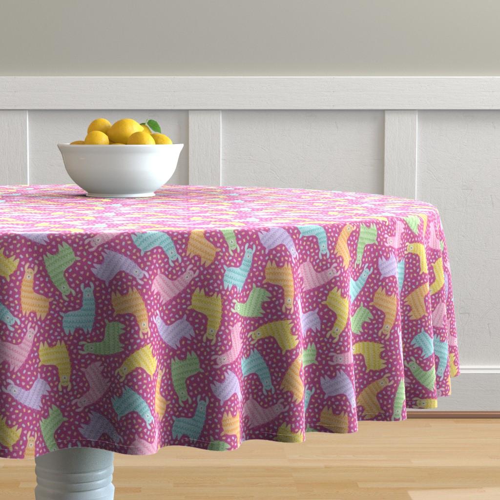 Malay Round Tablecloth featuring Rainbow Party Llamas on Fuschia by moonpuff