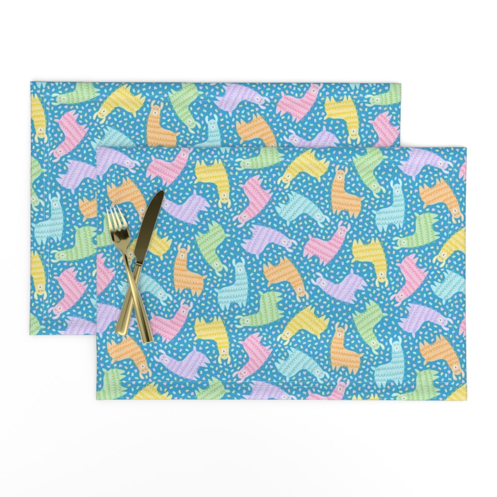 Lamona Cloth Placemats featuring Rainbow Party Llamas on Blue by moonpuff