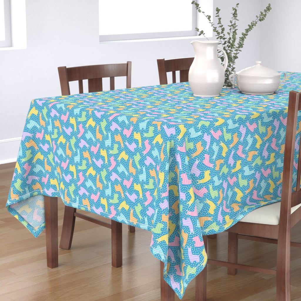 Bantam Rectangular Tablecloth featuring Rainbow Party Llamas on Blue by moonpuff