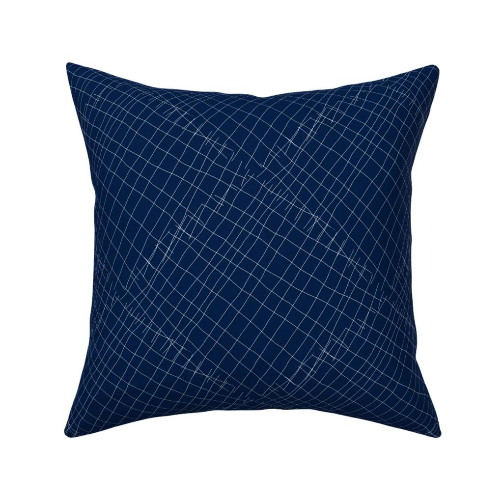 Catalan Throw Pillow featuring Japanese shibori dark blue indigo sapphire white, large scale by amy_g