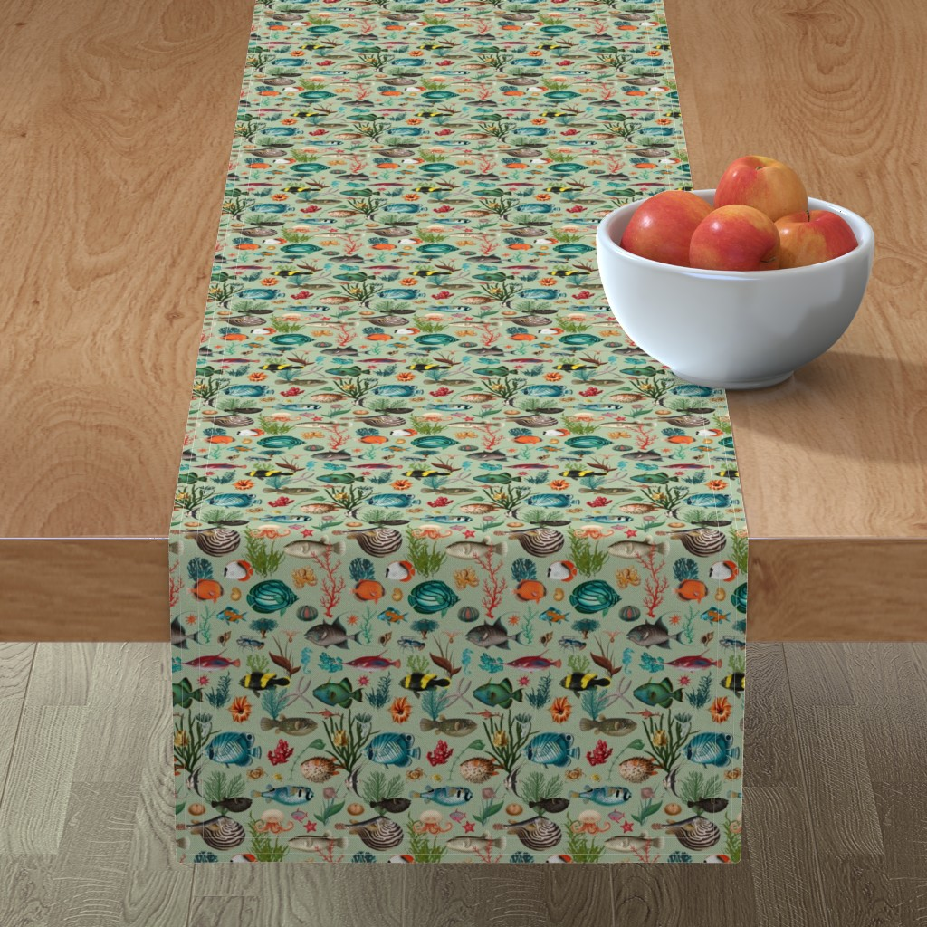 Minorca Table Runner featuring Oceania in sage green small scale by delinda_graphic_studio