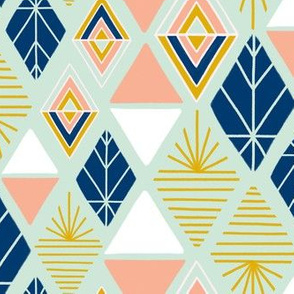 Mint, Navy, Mustard Gold and Blush Starburst Geometric by Angel Gerardo