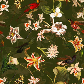"18""  Pierre-Joseph Redouté Lush colorful hummingbirds tropicals exotic vintage Jungle summer paradise in deep green"