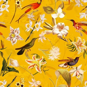 """18""""  Pierre-Joseph Redouté Lush colorful hummingbirds tropicals exotic vintage Jungle summer paradise in sunny yellow"""