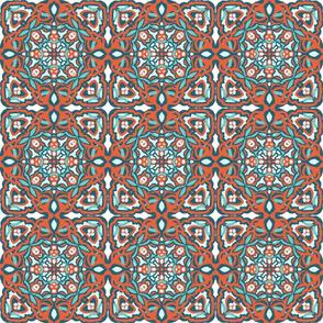 Orange Teal Garden Tile