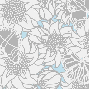 Butterfly Blooms Large Gray N Blue