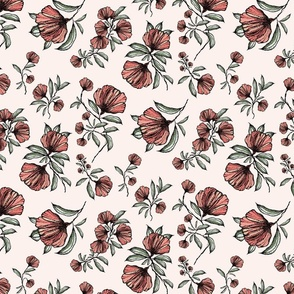 Maidaan Meadow Vintage Red Flowers