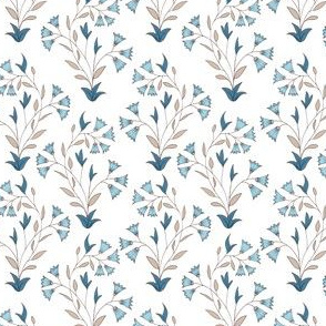 Indian floral. Seamless pattern. White background with light blue flowers.