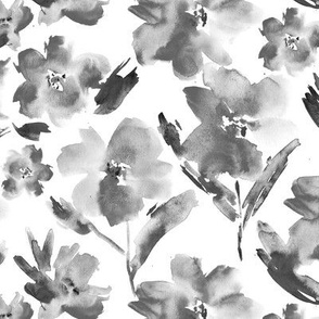 Passion flowers in shades of grey || watercolor black and white florals for home decor