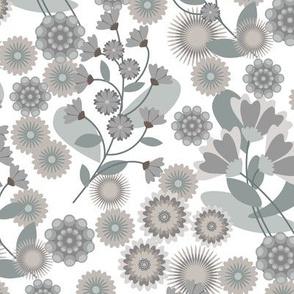 Summer Floral White & Grey