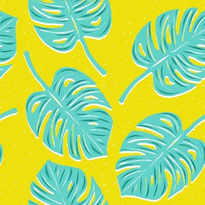 Mint Monstera Leaves on Yellow