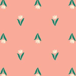 Field of Tulips in Pink and Ivory