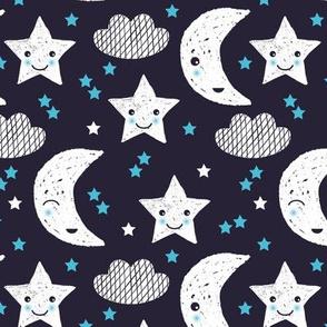 Cute stars good night clouds sweet dreams moon phase kawaii sparkle navy blue