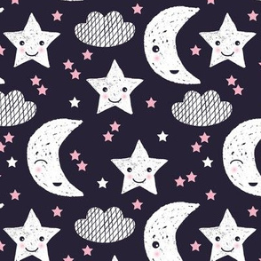 Cute stars good night clouds sweet dreams moon phase kawaii sparkle navy pink girls