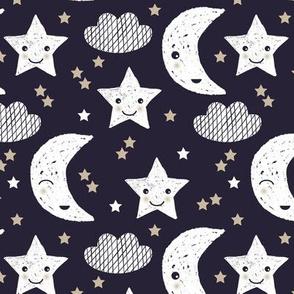 Cute stars good night clouds sweet dreams moon phase kawaii sparkle navy beige gender neutral
