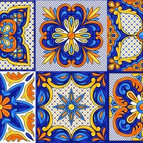 Mexican Themed Terracotta Tiles Blue Yellow