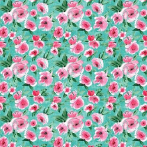 Bright Pink Floral Teal_Small