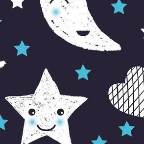 Cute stars good night clouds sweet dreams moon phase kawaii sparkle navy blue boys JUMBO