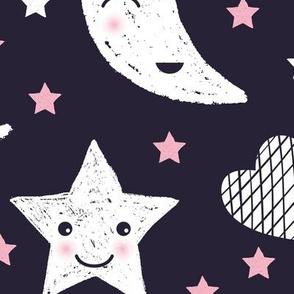 Cute stars good night clouds sweet dreams moon phase kawaii sparkle navy pink girls JUMBO