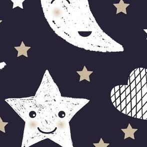 Cute stars good night clouds sweet dreams moon phase kawaii sparkle navy beige gender neutral JUMBO