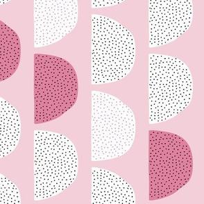 Scandinavian retro moon phases half circles soft pastel moon gender neutral pink cherry