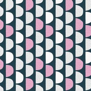 Scandinavian retro moon phases half circles soft pastel moon navy pink SMALL