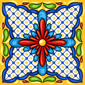 Mexican Tiles Teracotta Blue Yellow