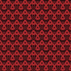 spider damask black on red
