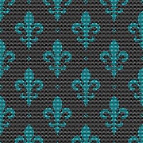 Fleur de Lis textured beads teal on black fabric