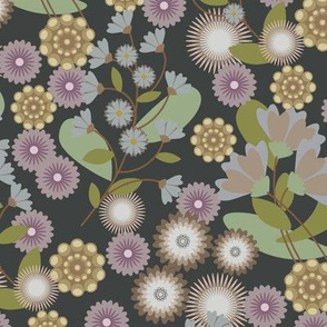 Summer Floral Dusted Charcoal