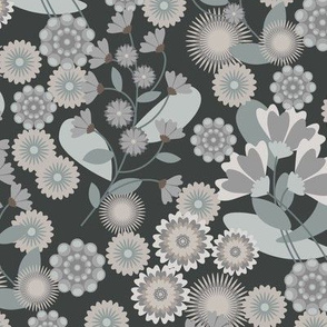 Summer Floral Neutral Charcoal