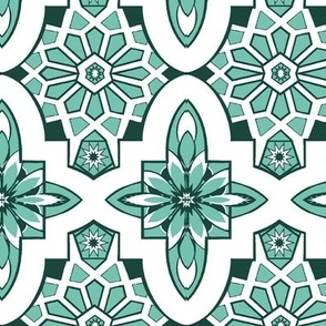 Mint  Marrakesh tile with white and mint