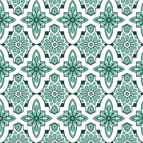 Moroccan Tiles in Mint green and white,   Marrakesh tile with white and mint