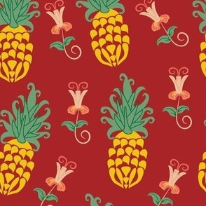 Ditsy Pineapple Floral in Red