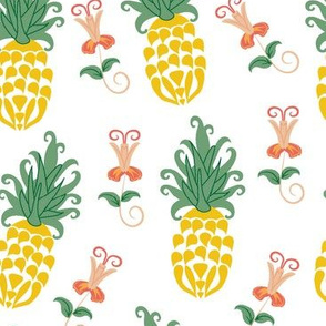 Ditsy Pineapple Floral in white