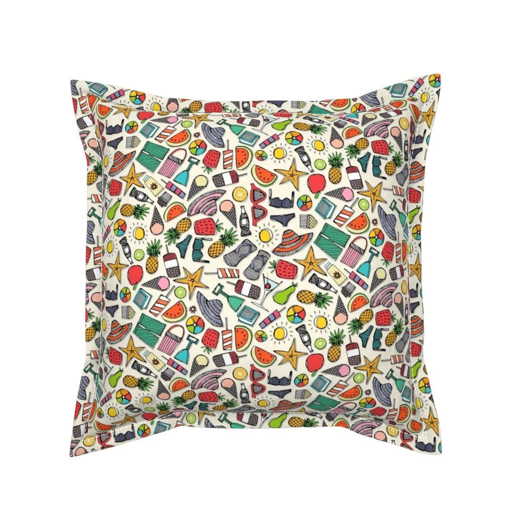 Serama Throw Pillow featuring beach fun pearl by scrummy