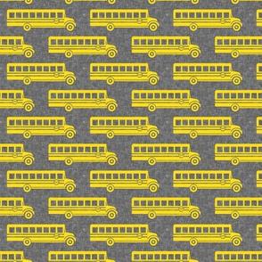 School bus - yellow on grey - back to school -  LAD19