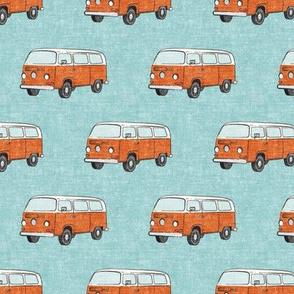 Retro Camper Bus - vintage car - orange on blue - LAD19