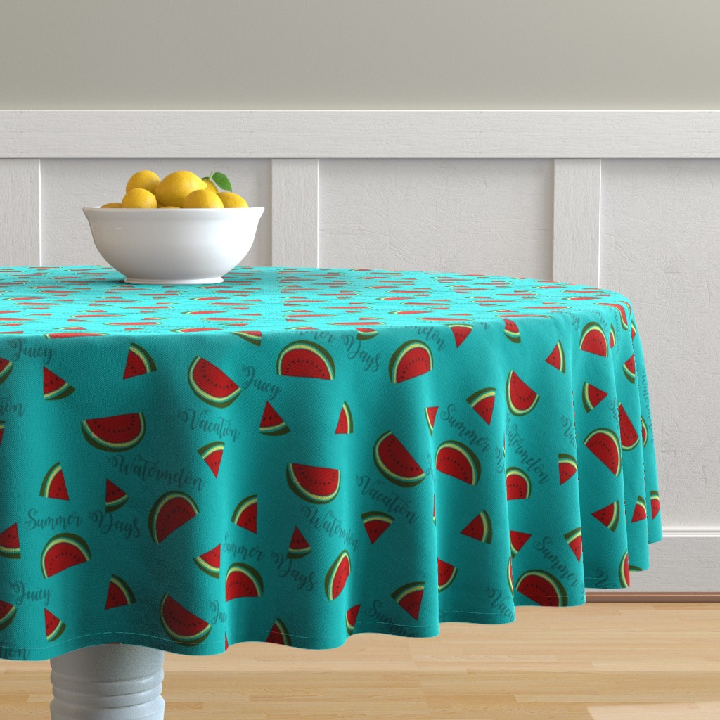 Malay Round Tablecloth featuring Summer Watermelon Slices  by gypsea_art_designs