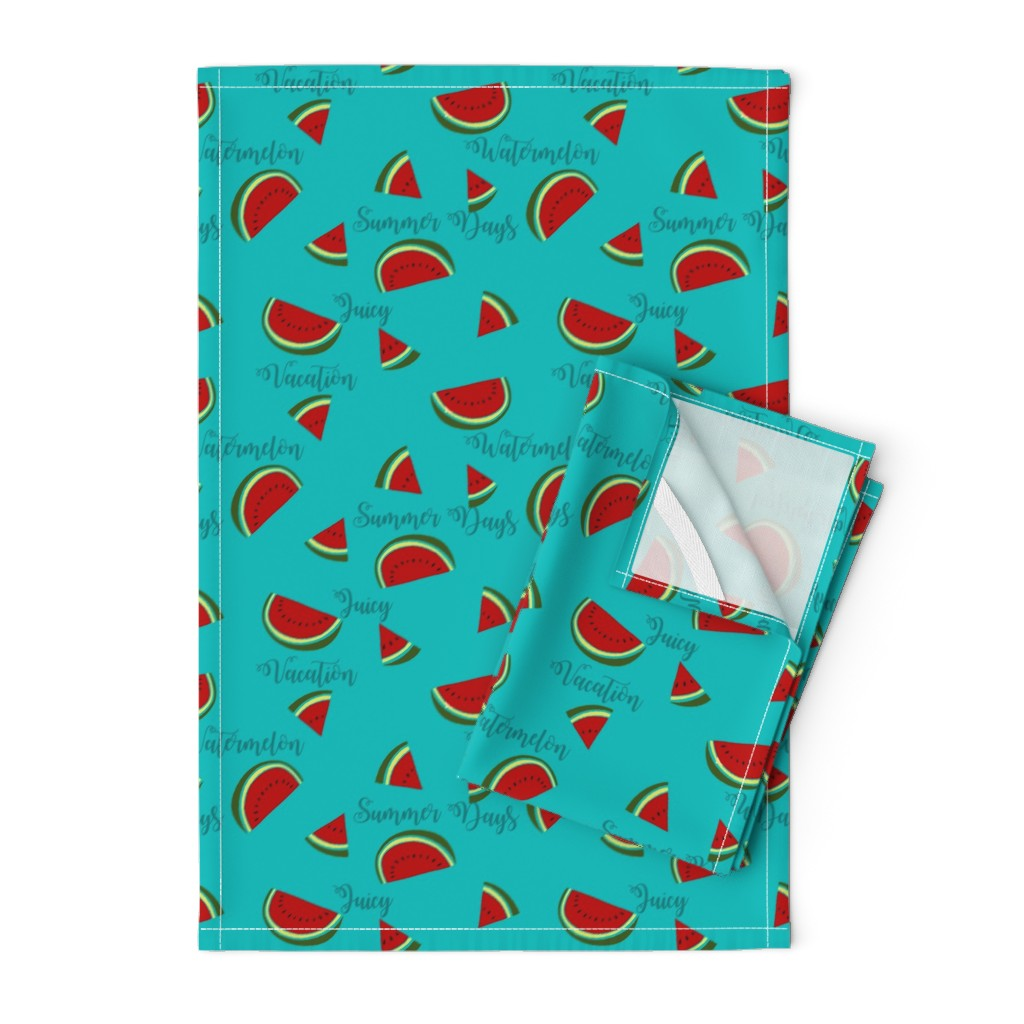Orpington Tea Towels featuring Summer Watermelon Slices  by gypsea_art_designs