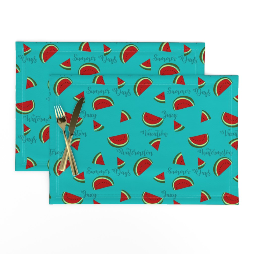 Lamona Cloth Placemats featuring Summer Watermelon Slices  by gypsea_art_designs